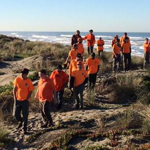 Volunteers in orange shirts at the beach