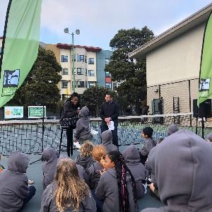 Sloane Stephens addressing kids