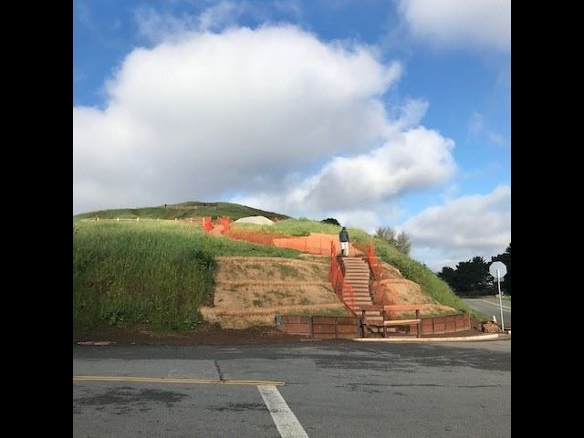 Looking at a New trail entrance along Bernal Heights Blvd with box steps and orange construction fen