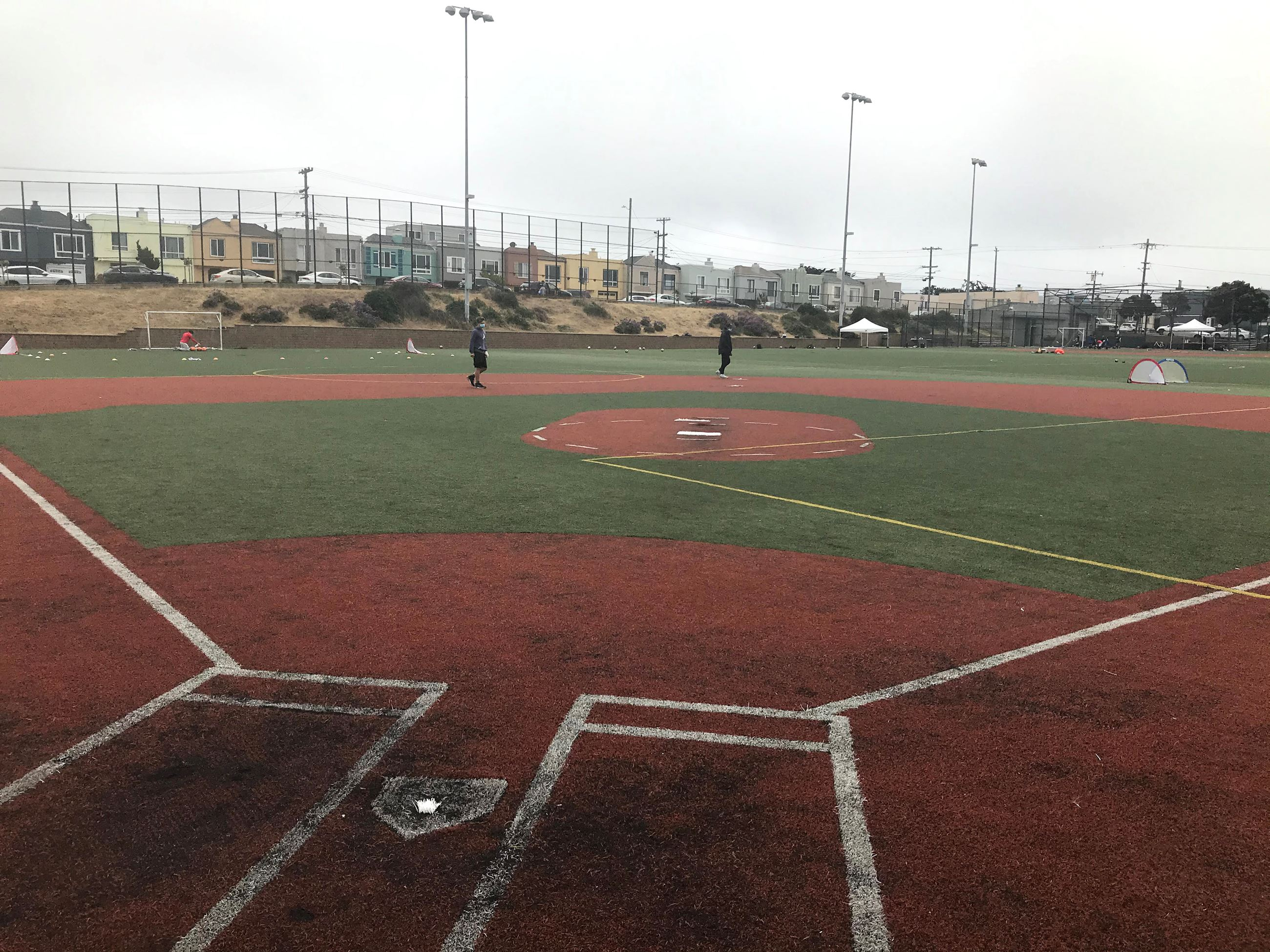 Ballfield with degraded turf field