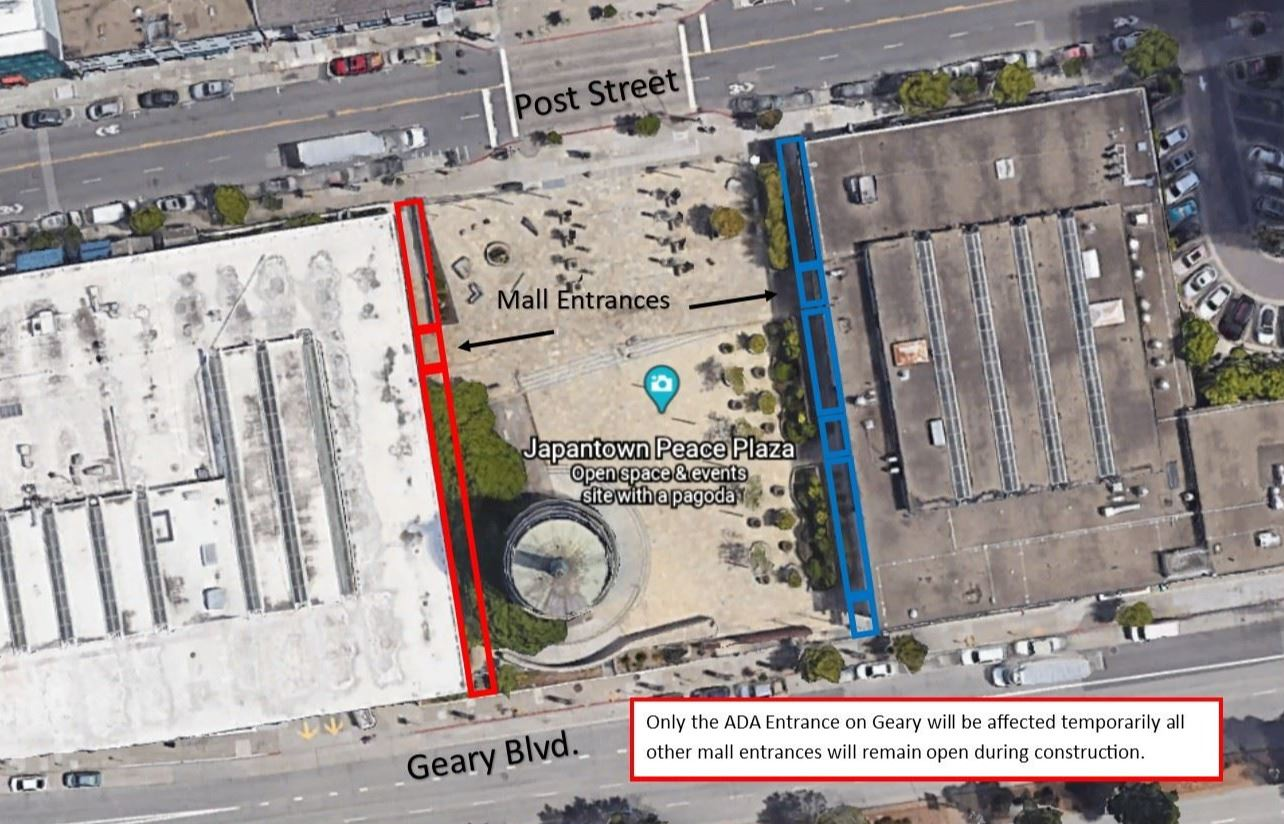 Japantown showing areas of construction along edges of plaza in red and blue that will be affected