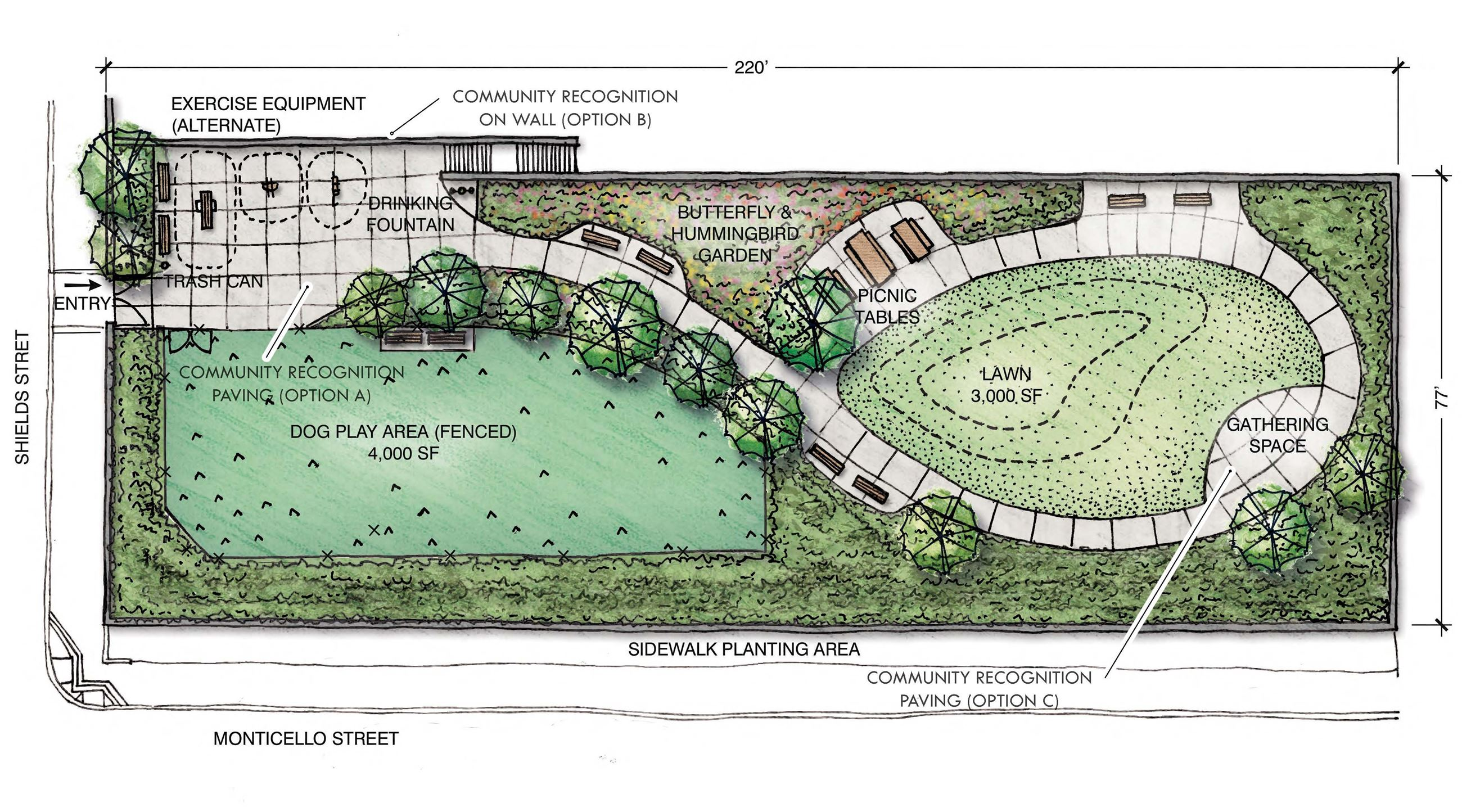 Image shows the concept design for Merced Lower Terrace Lawn split dog and people zones