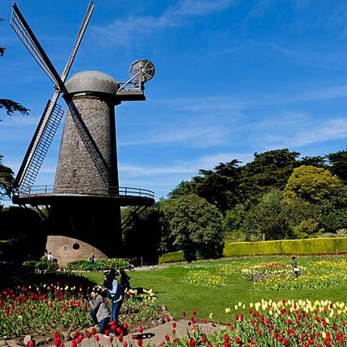 Stone windmill next to a large flower garden