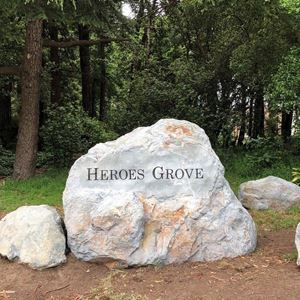 "Stone inscribed with ""Heroes Grove"""
