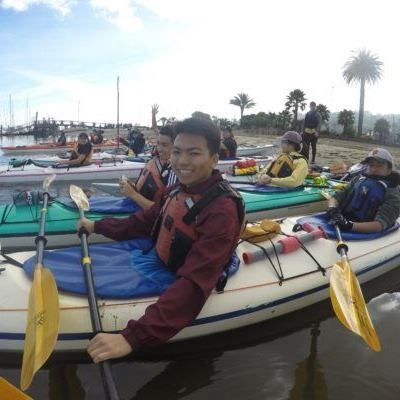 Youth in kayaks